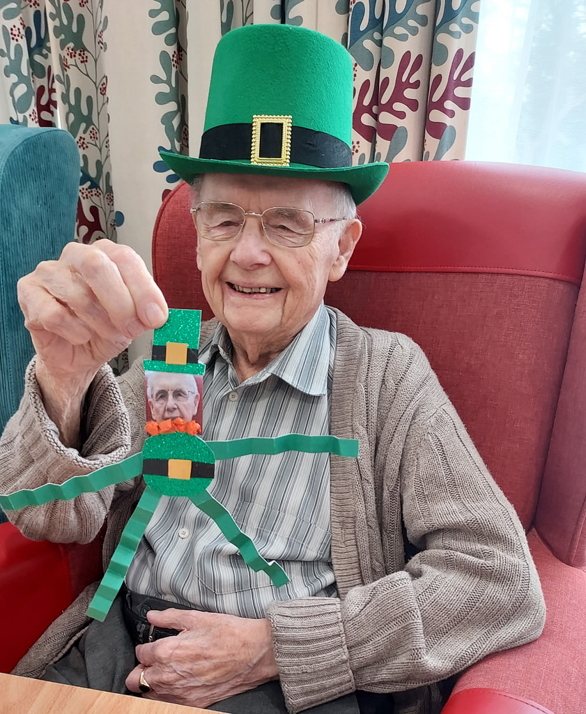 Resident at Oaklands House Care Home celebrating St. Patrick's Day